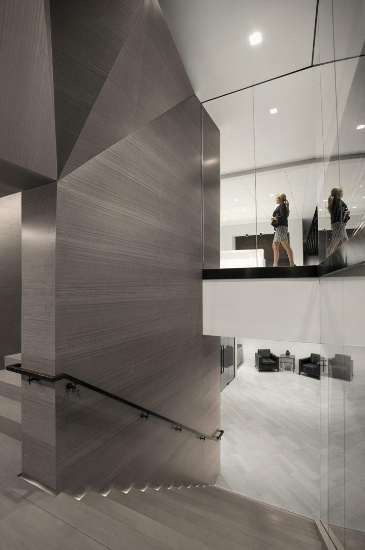 Corporate Law Interior Design Bridge over Staircase AZA Law