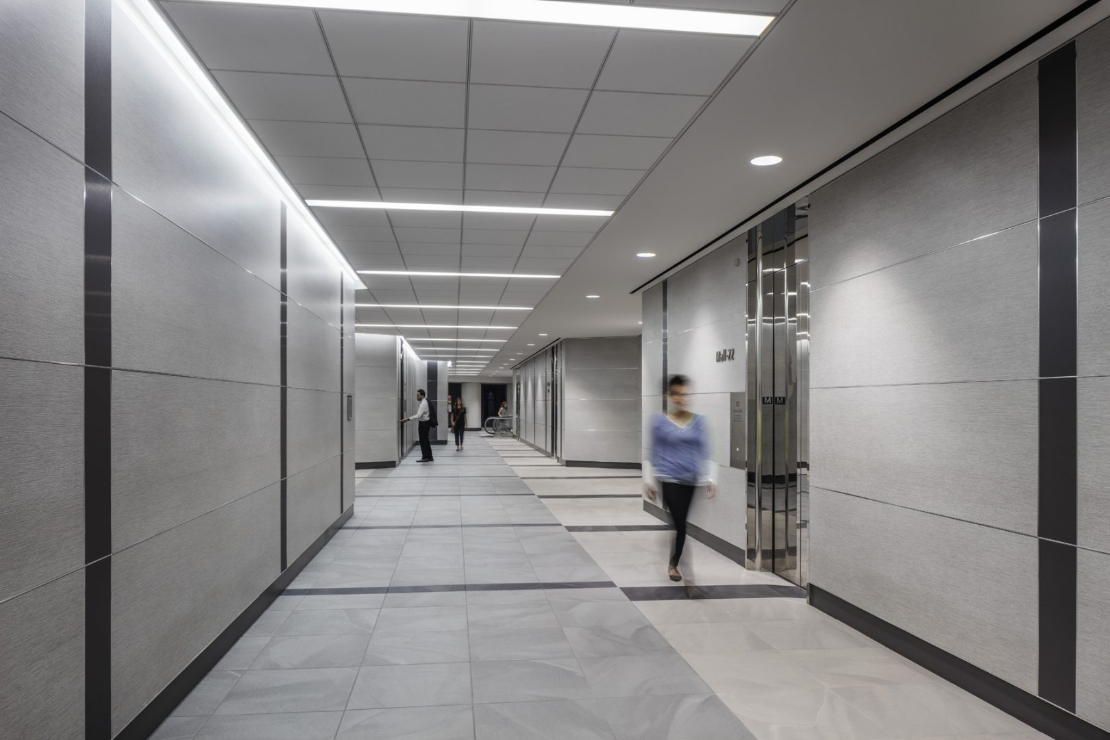 Architecture Building Repositioning Corporate Interior Design 1415 Louisiana Houston Elevator Lobby
