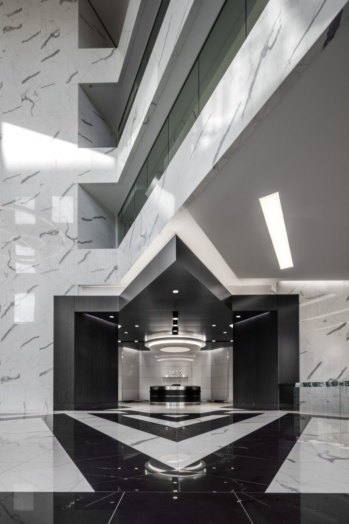 Architecture Building Repositioning Corporate Interior Design 1415 Louisiana Houston Circular Lighting Entrance Lobby Black and White