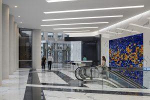 Architecture Building Repositioning Corporate Interior Design 1415 Louisiana Houston Escalators Cohesive Black and White
