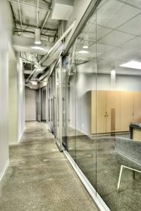 Corporate Interior Design Modern Office Avera Companies Investment Firm Full Glass Office Fronts Corridor