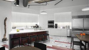 Corporate Interior Design Hedge Fund Breakroom Black Red White