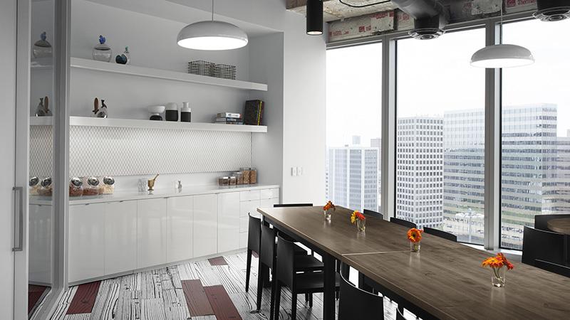 Corporate Interior Design Hedge Fund Breakroom Seating Natural Light