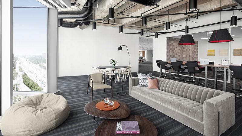 Corporate Interior Design Hedge Fund Breakroom Sofa with View