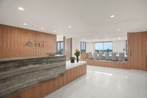 Corporate Interior Design JLT Houston Reception Desk Linear Stone