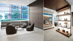 Corporate Interior Design Newfield Conference Center Seating Area and Display Casework