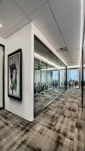Downtown Denver Corporate Interior Office Design Glass Front Offices
