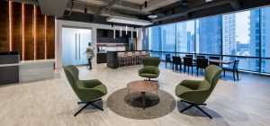 Investment Management Company Denver Corporate Interior Design Breakroom Lobby Seating Entertainment Space