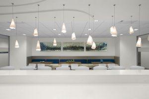 NEWFIELD EXPLORATION Corporate Interior Design Breakroom Feature Pendant Lighting