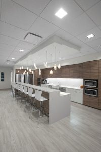 Corporate Interior Design Newfield Exploration Breakroom Island Bar Seating Banquette