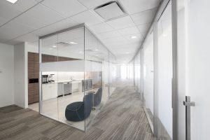 Corporate Interior Design Newfield Exploration Corridor Glass Front Coffee Bar