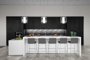 Corporate Interior Design Musket Corporation Houston Breakroom Island Bar Seating