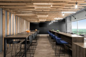 Corporate Interior Design Aptim The Woodlands Breakroom Natural Wood Ceiling