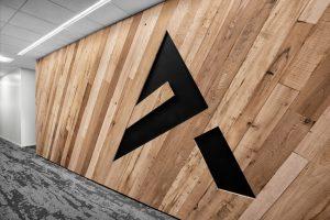 Corporate Interior Design Aptim The Woodlands BNatural Wood Panelling Company Logo