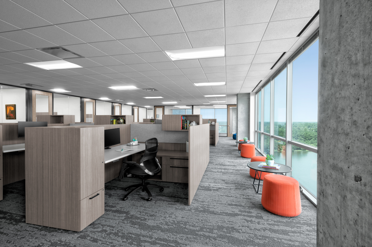 Corporate Interior Design Aptim The Woodlands Open Office Window Meeting Seating