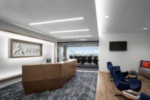 Corporate Interior Design Aptim The Woodlands Angled Reception Entrance Graphics