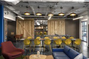 THE CANNON HOUSTON Corporate Interior Design Breakout Space Dividing Barn Doors
