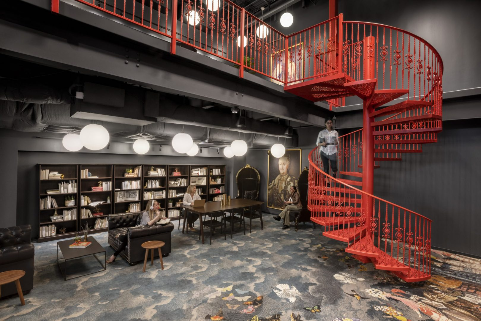 Corporate Interior Design Spiral Staircase to Library The Cannon Houston
