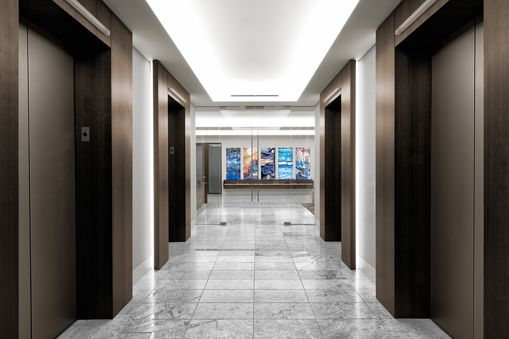Corporate Interior Design Newfield Exploration Executive Floor Elevator Lobby Entrance