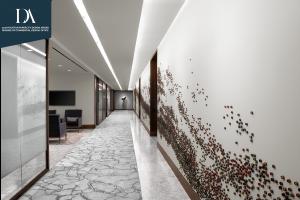Corporate Interior Design Corridor Feature Wall NEWFIELD EXPLORATION EXEC FLOOR
