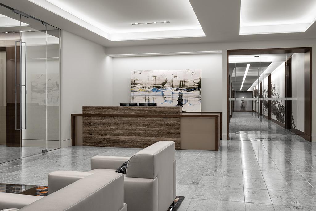 Corporate Interior Design Newfield Exploration Executive Floor Reception Desk Lobby