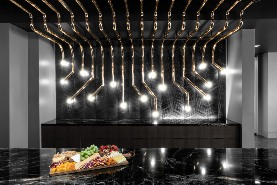 Corporate Law Firm Conference and Event Center Gold Pipes Lighting Detail