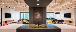 Corporate Interior Design Nova Chemicals Houston Breakroom Island Black and White