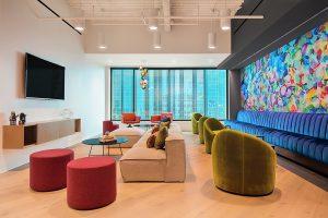 Corporate Interior Design Nova Chemicals Houston Informal Lounge Seating Colorful Breakout