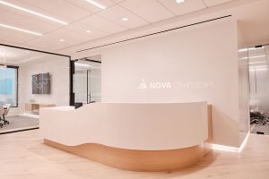 Corporate Interior Design Nova Chemicals Houston Sleek Reception Desk
