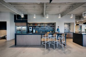 Corporate Interior Design Breakroom Backsplash XACTLY CORP DENVER