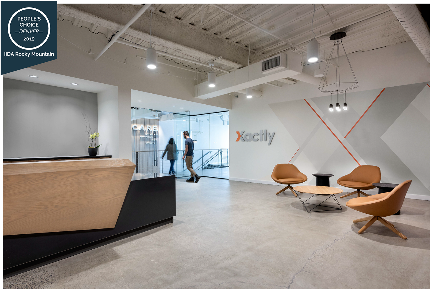Corporate Interior Design Xactly Corp Reception Desk Award