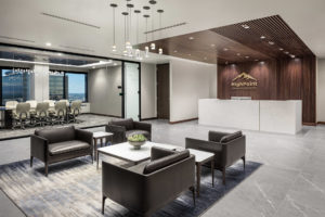 HighPoint Resources Corporate Interior Design Reception Seating Wood Wall Wood Ceiling Stone Reception Desk