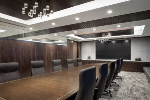 HighPoint Resources Corporate Interior Design Boardroom Multipanel Screen Wood Ceiling