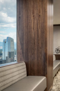 HighPoint Resources Corporate Interior Design Booth Seating Wood Column