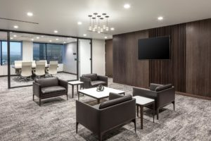 HighPoint Resources Denver Corporate Interior Design Waiting Area Seating Wood Accent Wall