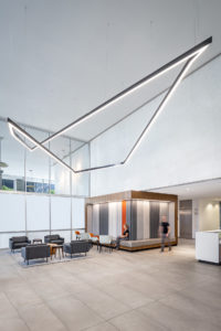 US Bank Tower Corporate Interior Design Lobby Custom Light Fixture
