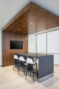 US Bank Tower Corporate Inteiror Design Collaboration Island Wood Ceiling