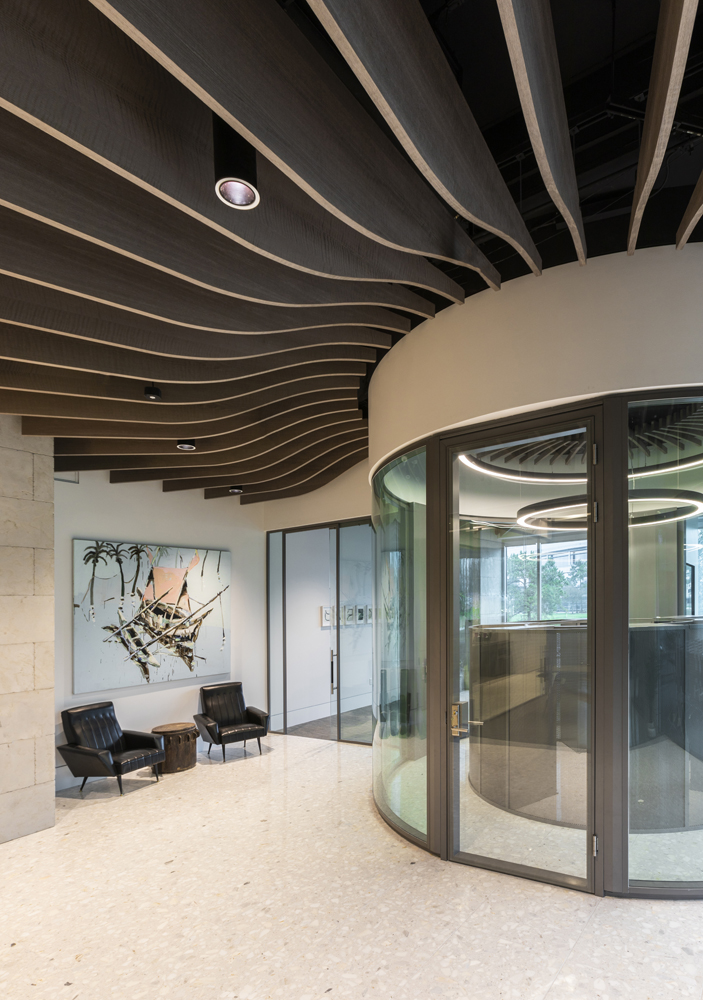 Corporate Interior Design Lobby for Dynamis Power Solutions Turibine Wood Slat Ceiling Entrance Lobby
