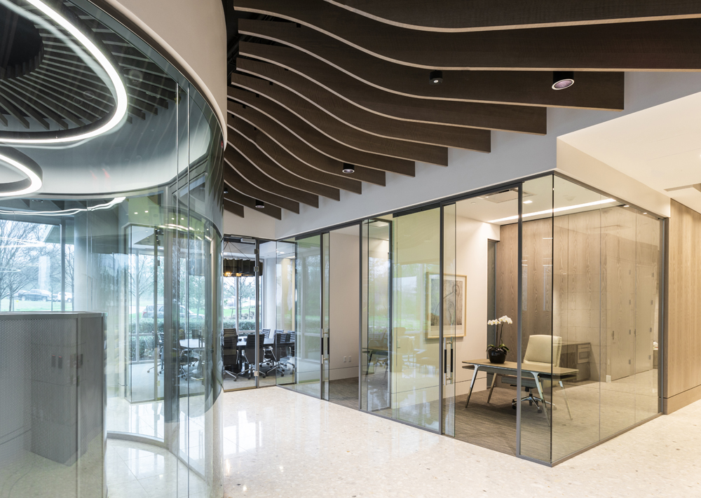 Corporate Interior Design Private Offices GlassfrontsDynamis Power Solutions Wood Fin Ceiling
