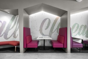 Corporate Technology Client AUSTIN Interior Design Booth Seating Elevation