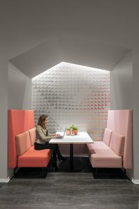 austin tech office corporate office break room booths colorful