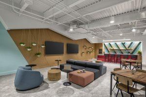tech corporate office break room view