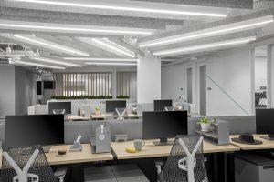 tech corporate office open workspace