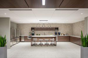 Centennial Resource Development Denver Breakroom Backsplash Arc Pendant Lights