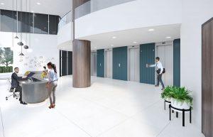 Woodway tower lobby renovation elevator lobby