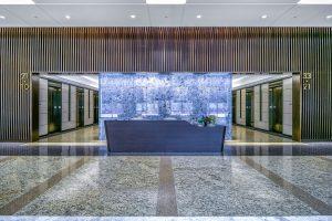 lobby renovation reception desk area