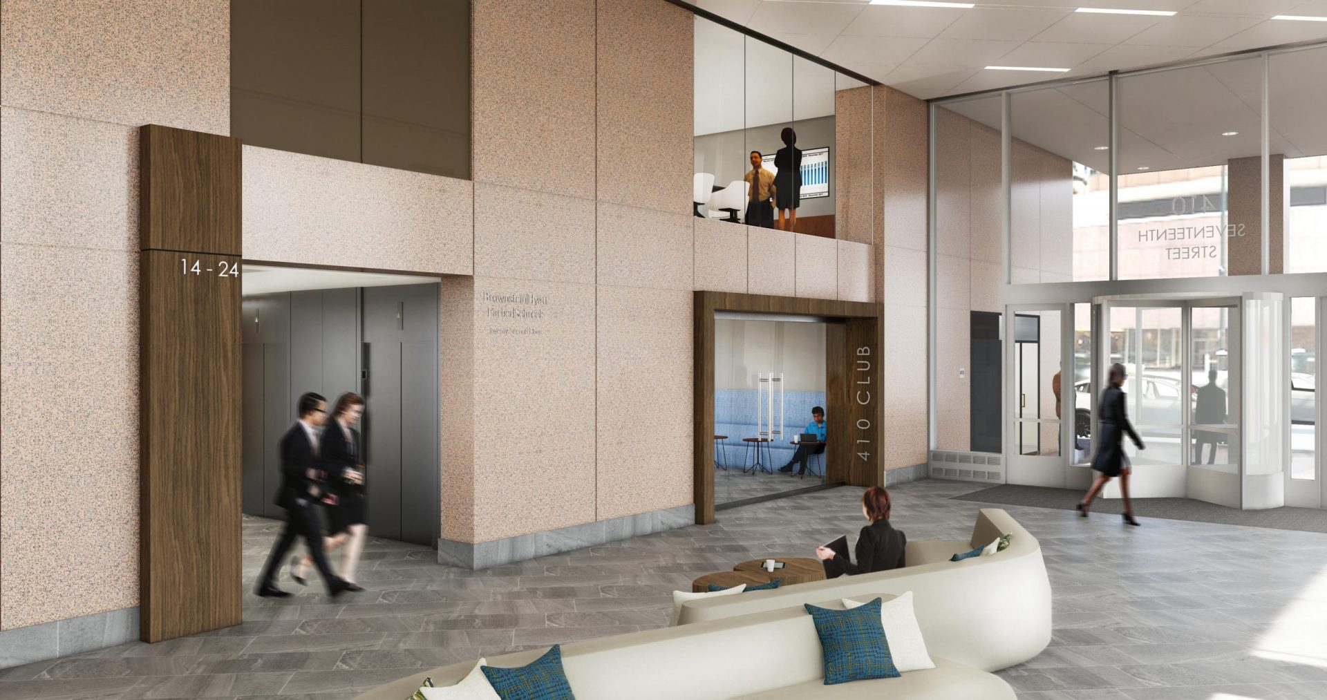 410 17th Corporate Interior Design Lobby Club View Rendering