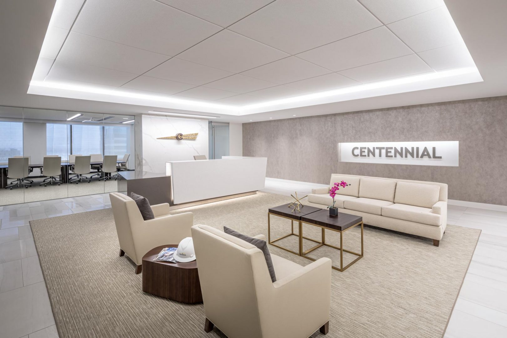 Corporate Interior Design Entry Lobby Seating Centennial Denver