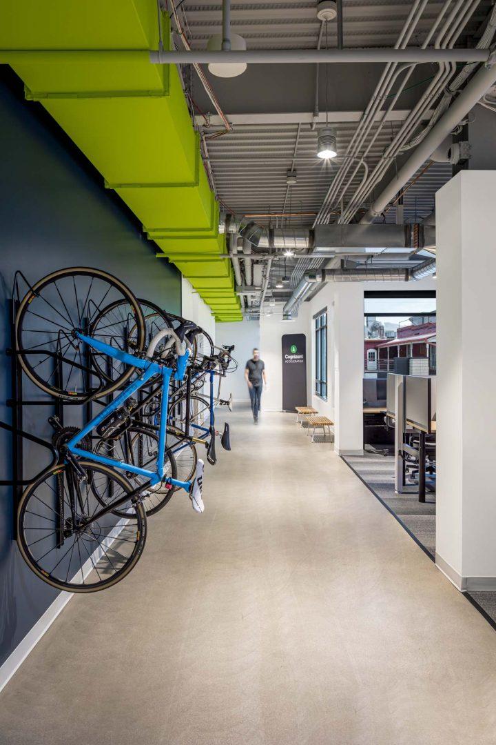 Corporate Interior Design Vertical Bike Rack Storage Cognizant Denver