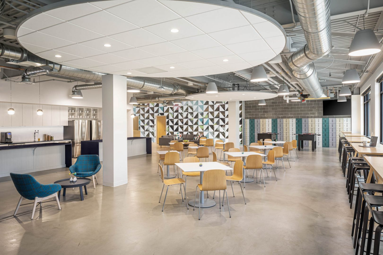 Corporate Interior Design Breakroom Floating Ceiling Circles Open to Structure Cognizant Denver